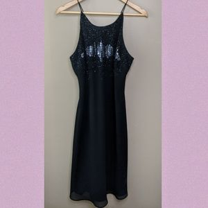 Cachet Bead Embroidered Black Cocktail Dress